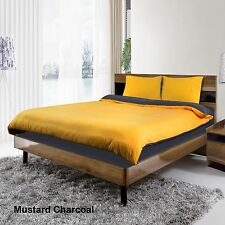 4 PCS MUSTARD/CHARCOAL DUVET COVER BED SET & FITTED SHEET SINGLE DOUBLE KING