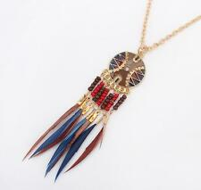 Feather Long Necklace Chain Gold Plated European Style Fashion Jewelry