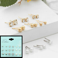 9 Pairs New Cute Women Ball Rhinestone Pearl  Earring Crystal Stud Earring Set