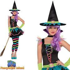 GIRLS TEEN COLOURFUL WITCH COSTUME HALLOWEEN age 10-16 childs kids fancy dress