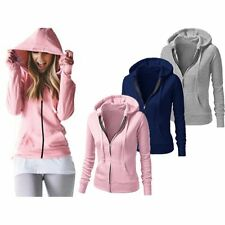 Womens Ladies Solid Plain Hoodie Fleece Sweatshirt Hooded Coat Hoody Zip Jacket