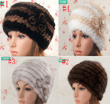 Better Sell Women Girl's Real Genuine Knit Mink Fur Multi Color Hat Cap