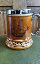 Lord nelson pottery tankard 1970s H.M.S. Victory 12-72 made in England Patriotic