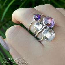 1 RING ONLY Droplet Ring Solid Sterling Silver Pink Purple Clear Size 7.5 / 56
