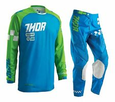 NEW Thor Kids MX Gear Phase Ramble Blue Green Youth Motocross Pants FREE JERSEY