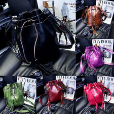 Women Faux Leather Small Handbag Drawsting Bucket Shoulderbag Messenger Bag HOT