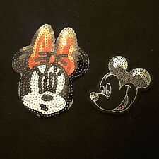 "Mickey 5"" & Minnie Mouse 4' Smiley Disney CARTOON Sequin Iron-On Patch Applique"