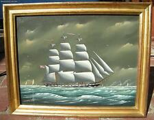 "Vintage Ship Oil Painting Listed Mass. Artist ""Christofer Guise"" Gallery Label"