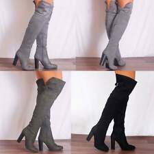 WOMENS BLACK GREY KHAKI OVER THE KNEE BUCKLE STRETCH BOOTS HIGH HEELS SHOES SIZE