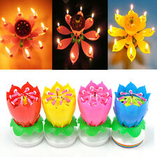 Romantic Musical Lotus Flower Rotating Happy Birthday Party Candle Light hot