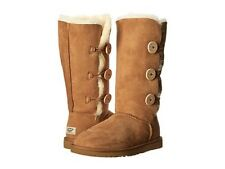 UGG Australia $220 Women's Bailey Button Triplet Suede Boots Shoes Wool Chestnut