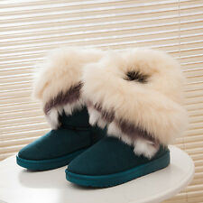 Womens Fashion Winter Suede Faux Fur Warm Mid Calf Snow Boots Low Ankle Boots