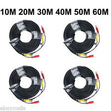10M~60M BNC DC Extension Lead CCTV Security Video Camera DVR Data Power Cable UK