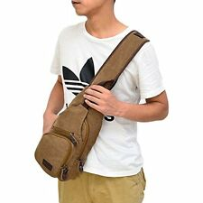 Mens Shoulder Bag Canvas Sports Backpack Sling Chest Pack/Hiking Working Coffee