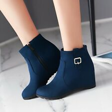 2017 Womens Faux Suede Wedge Heels Shoes Ankle Boots Zip Winter Bootie Plus Size