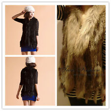 Chic Women's Real Farm Ussuri Raccoon Fur Collar Rabbit Fur Knit Vest 16 Colors