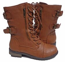 Women Military Combat Lace Up Buckle Boots Zipper Low Heel Mid Calf Round Riding