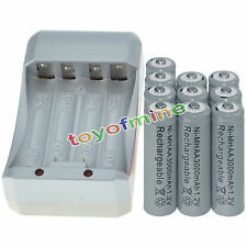 10x AA 3000mAh 1.2V Ni-MH GREY Color Rechargeable Battery Cell +Charger