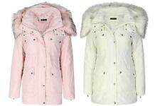 Womens Faux Fur Trim Hooded With Hood Pockets Lined Winter Autumn Jacket Coat