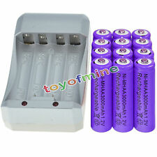 12x AA 3000mAh 1.2V Ni-MH PUR Color Rechargeable Battery Cell +Charger