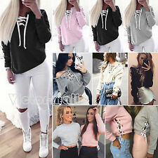 Womens Lace Up Sweatshirt Hoodies Top Casual Long Sleeve Pullover Blouse UK 6-16