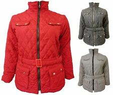 Womens Plus Collar Belted Padded Jacket Winter Coat Quilted Sizes UK 8-26
