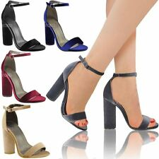 Womens Ladies Block Heel Ankle Strappy Sandals Peep Toe Party Velvet Shoes Size