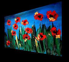 MODERN CONTEMPORARY CANADIAN GALLERY LARGE ORIGINAL OIL POPPIES