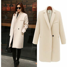 Womens Lapel Woolen Jacket Trench Coat Outwear Overcoat Long Korean Slim Fit New