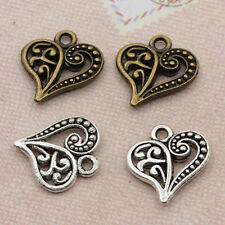60pcs Tibet Silver Hollow Heart Charms Pendants Antique Beaded Jewelry Findings