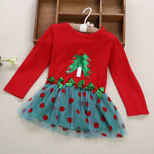 Girl Child Christmas Bowknot Ruffle Lace Round Collar Long Sleeve Skirt Dress