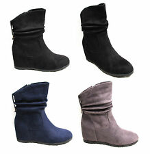 Womens Ladies Slouch Wedge Ankle Boots High Heels Shoes Casual Suede Leather 3-8