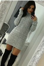 Womens Long Sleeve Cowl Polo Neck Cable Knitted Jumper Mini Dress Top Ladies