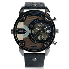 Casual Military Army Calendar Big Dial Leather Band Strap Analog Men Wrist Watch