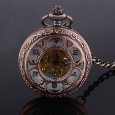 Antique Steampunk Windup Roman Dial Skeleton Mechanical Pocket Watch Gift Retro