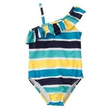NWT Gymboree One Shoulder Ruffle Striped One-Piece Swimsuit Swimwear NEW UPF 50+
