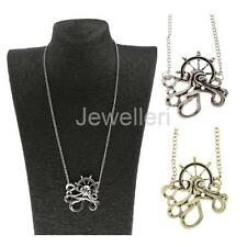 Antique Bronze Silver Steampunk Octopus Gear Anchor Pendant Necklace Jewelry