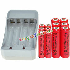 6x AA 3000mAh+6x AAA 1800mAh 1.2V NI-MH RED Color Rechargeable Battery+Charger
