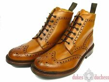 Loake Bedale Leather Boots Shoes Boat Seam stitched Budapester whisky/