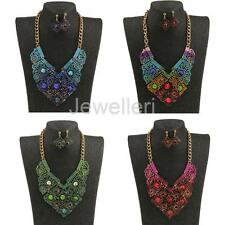 Women Vintage Crystal Ethnic Style Statement Necklace Earring Set Jewellery Gift