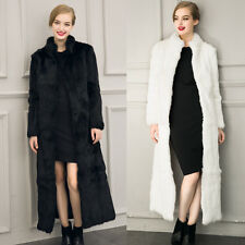 New Women Winter Black White Faux Rabbit Coat Fox Fur Collar Long Section Cloth