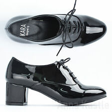 AnnaKastle Womens Shiny Patent Lace Up Heel  Oxford Shoes Black US 5 6 7 8
