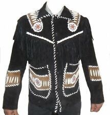 Men Western Black Suede Leather Jacket Fringe Bone and Beads Work