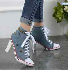 Womens Rivet High Chunky Heel Denim Canvas Lace Up High Top Sneaker Shoes Sexy
