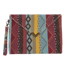 New Geometric Pattern Canvas Bags Envelope Shape Ethnic Style Hand Bag Purse HR