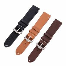 Leather Watch Band Strap Stainless Steel Buckle Replacement Watch Belt 18-22mm