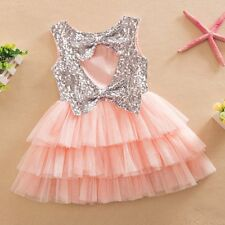 Kids Baby Girls Sequins Princess Party Pageant Wedding Tulle Tutu Dress 1-6Y