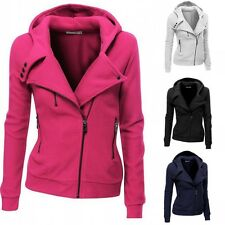 2016 Autumn Fashion Women Casual Oblique Zipper Slim Fit Hoodie Jacket Outwear