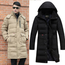 Trendy Mens long coat Duck down thicken warm Winter hooded jacket Father's coat