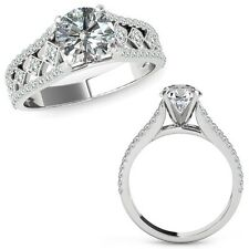 1.50 Carat Diamond Beautiful Solitaire Halo Engagement Ring Band 14K White Gold